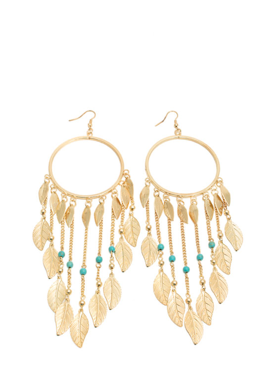 Feathered Hoop Dreamcatcher Earrings GOLDTURQ