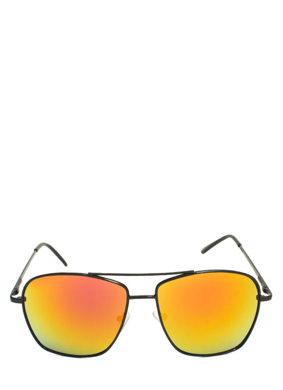 Reflective Square Aviator Sunglasses ORANGEYLLW