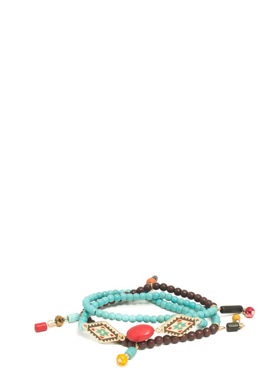 Tribal Beaded Wraparound Bracelet TURQMULTI