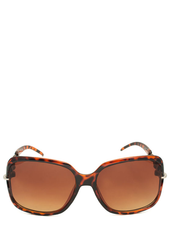 Oval Link Oversized Sunglasses TORTBRONZE