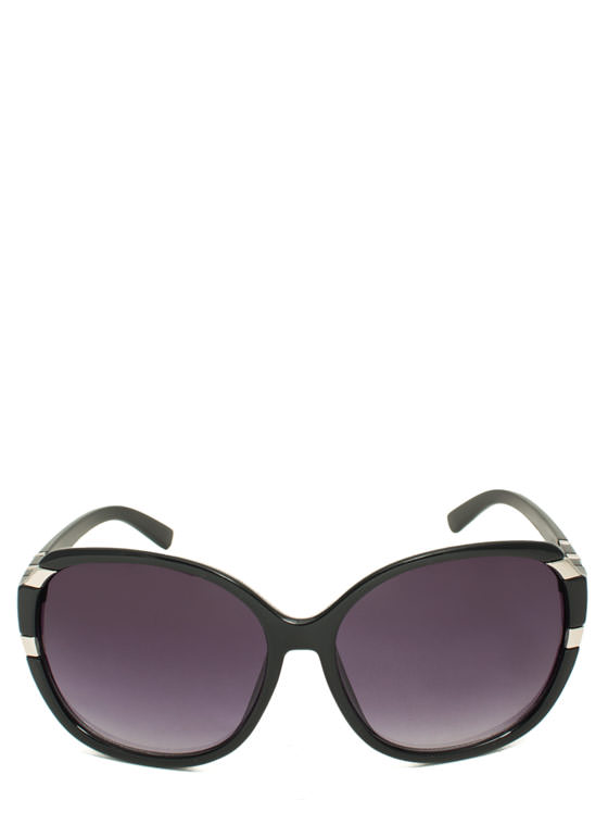 Oversized Metal Accent Sunglasses BLACK