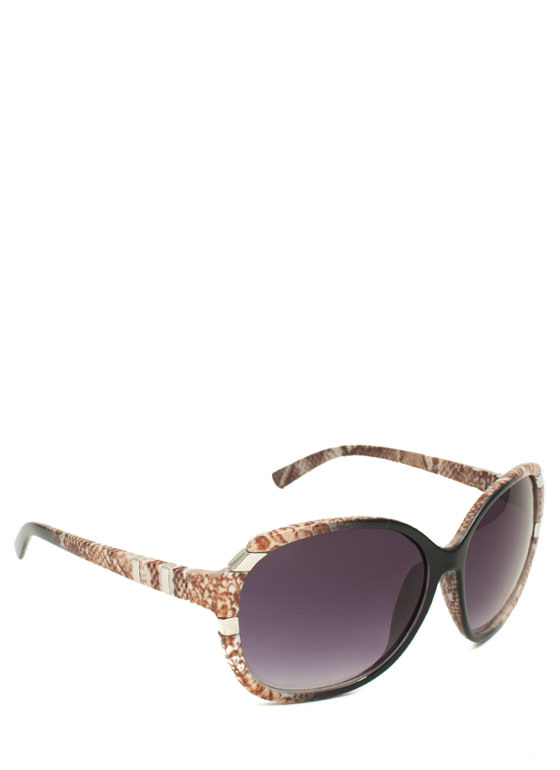 Oversized Metal Accent Sunglasses BLACKBROWN