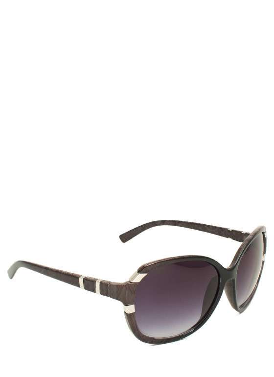 Oversized Metal Accent Sunglasses BLACKDKBRWN