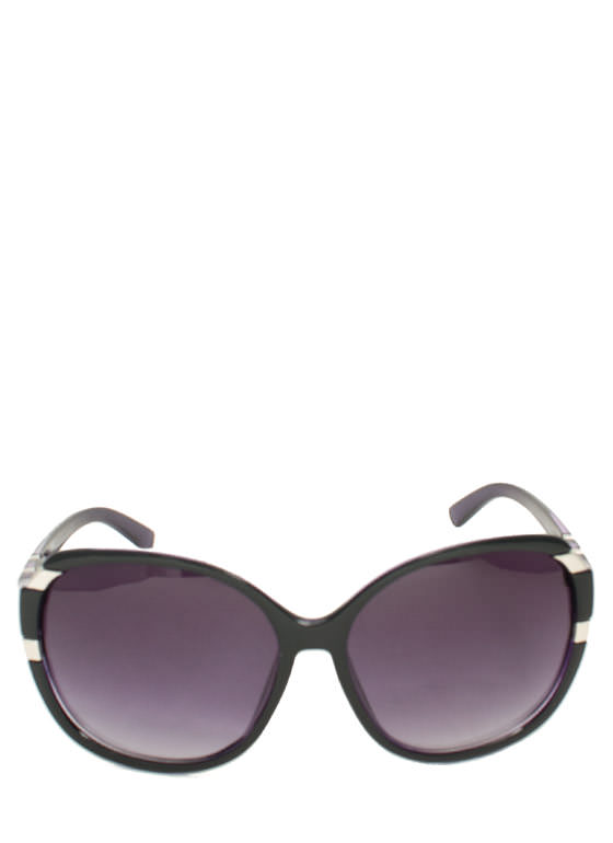 Oversized Metal Accent Sunglasses BLACKPURP