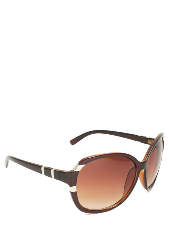Oversized Metal Accent Sunglasses BROWN
