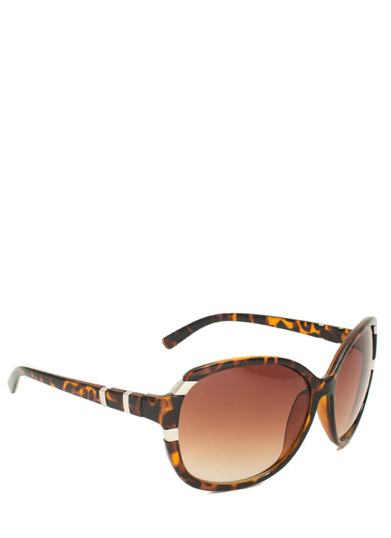 Oversized Metal Accent Sunglasses TORTOISE