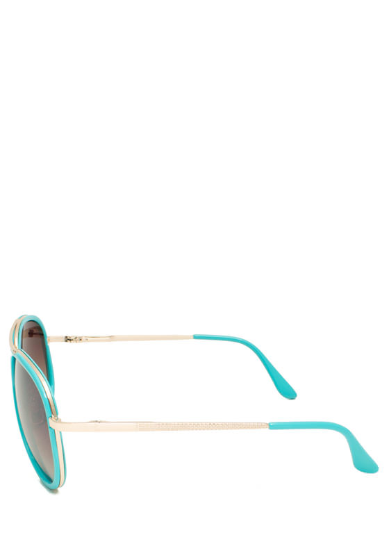 Color Me Surprised Aviator Sunglasses TURQUOISE