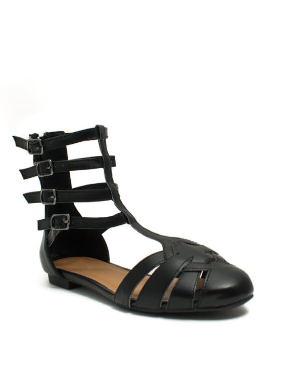Strap Happy Caged Flats  BLACK