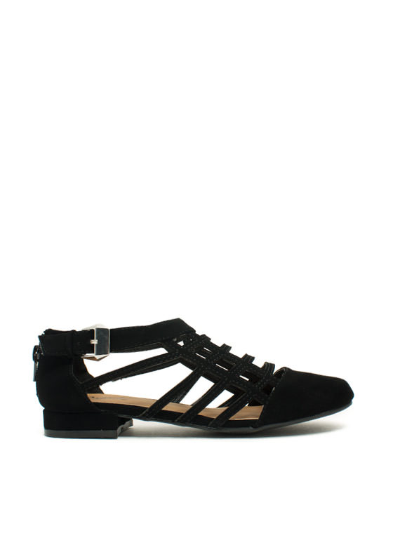 All The Cage Faux Nubuck Flats BLACK