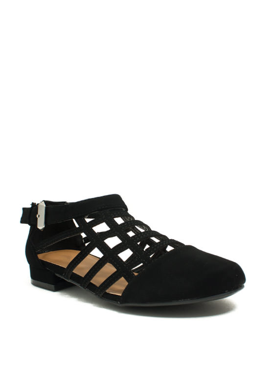 All The Cage Faux Nubuck Flats BLACK (Final Sale)