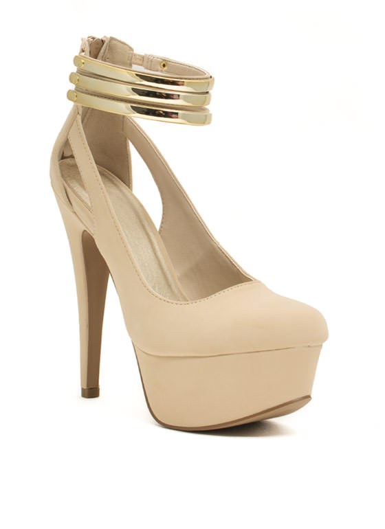Up To Bar Faux Nubuck Heels NUDE