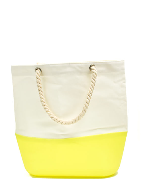 Silicone N Canvas Beach Tote NYLLWIVORY