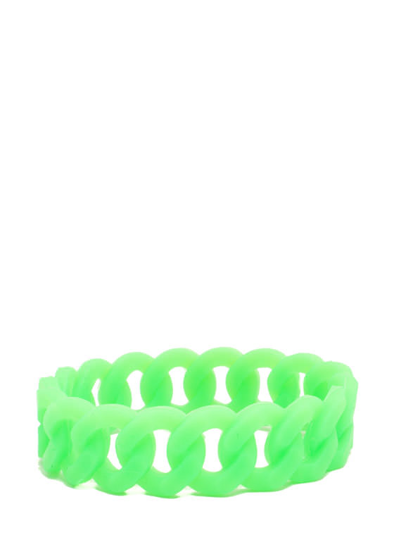 Stretchy Jelly Cable Chain Bracelet NEONGREEN
