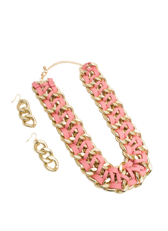 Double Faux Suede 'N Chain Necklace Set GOLDPINK
