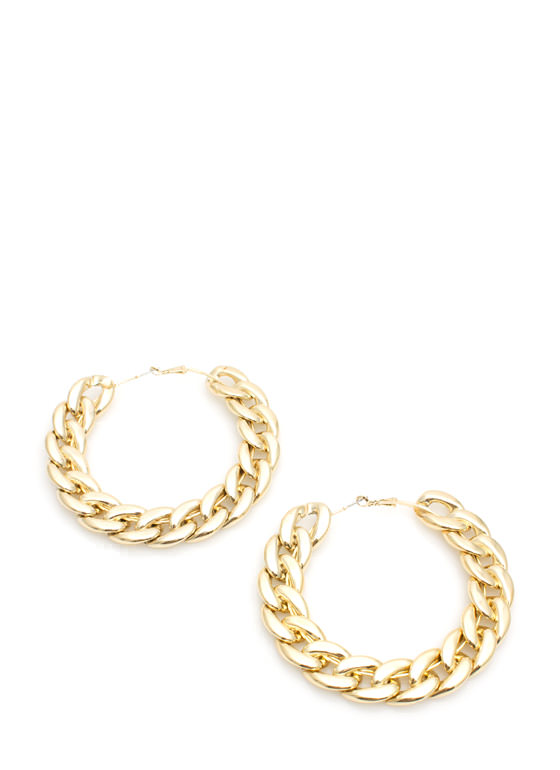 Shiny Oversized Flat Chain Hoops GOLD