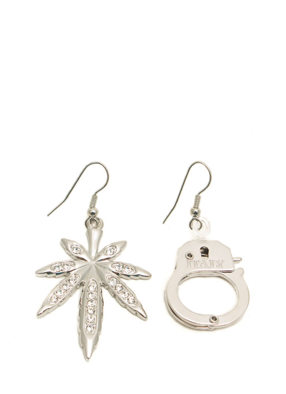 Jeweled Leaf And Handcuff Earrings SILVER