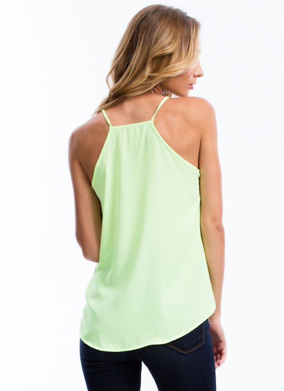 All The Right Moves Cami Surplice Tank NEONYELLOW
