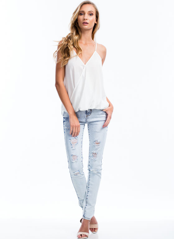 All The Right Moves Cami Surplice Tank OFFWHITE
