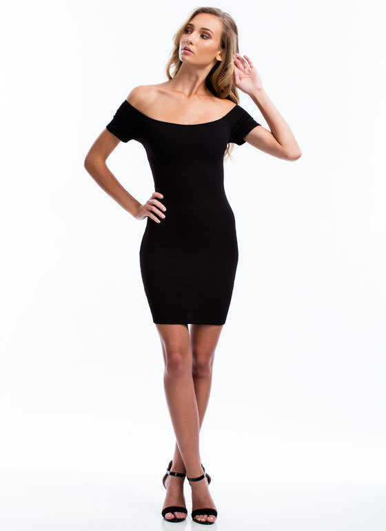 No Crossing Back Off-The-Shoulder Dress BLACK