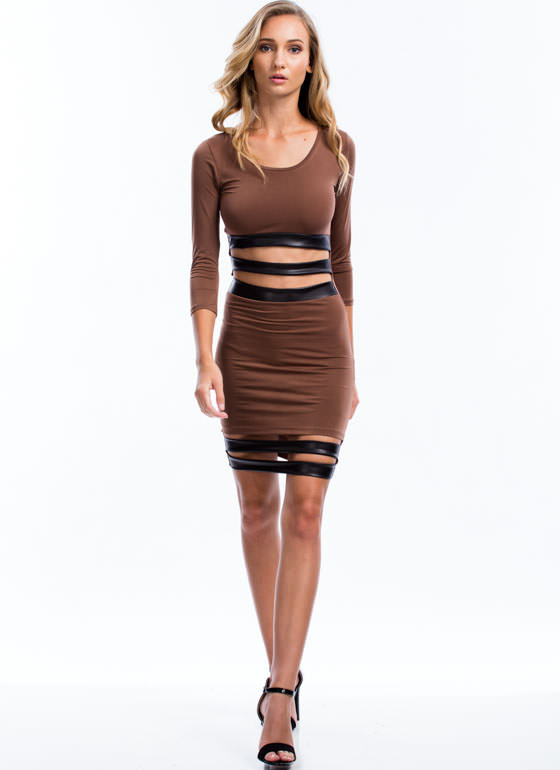 Sneak Peek Bodycon Dress MOCHA