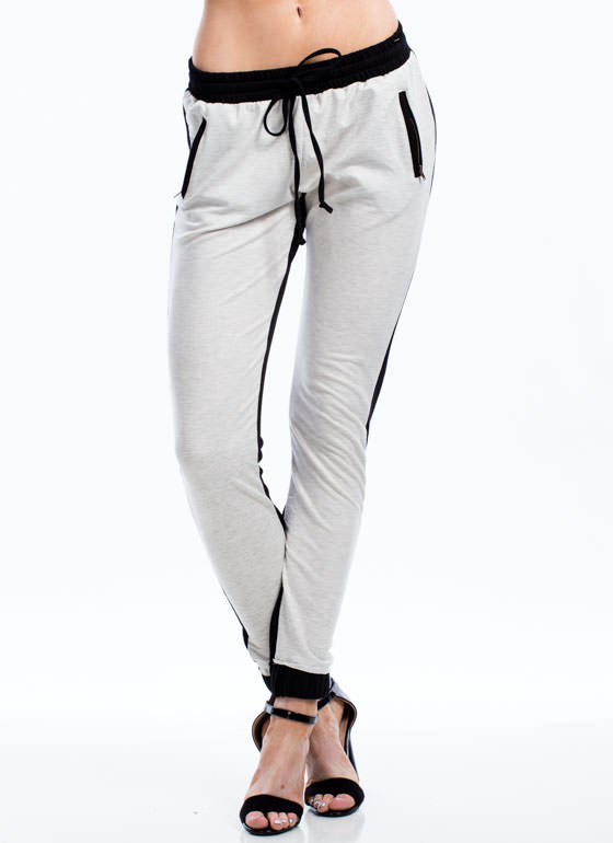 Two To Two-Tone Drawstring Joggers BLACK