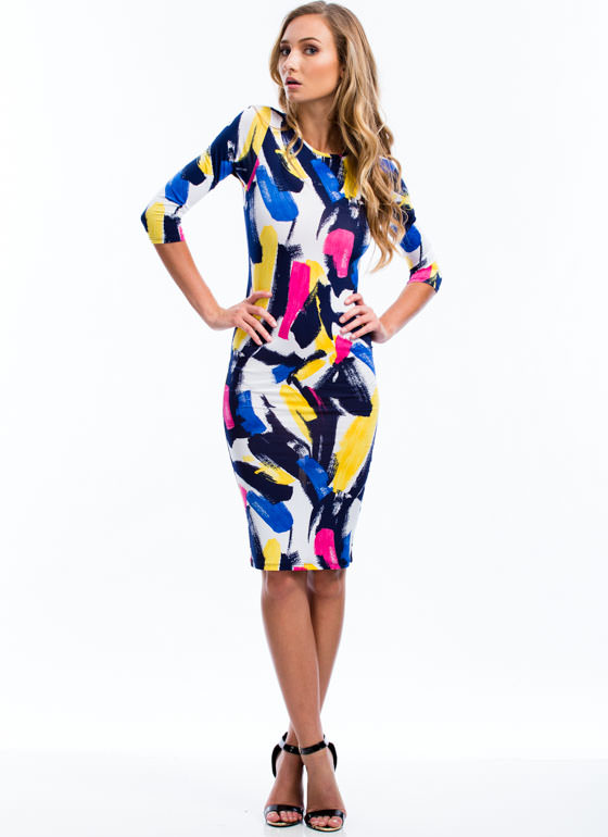 No Paint No Gain Brushstroke Dress BLUE