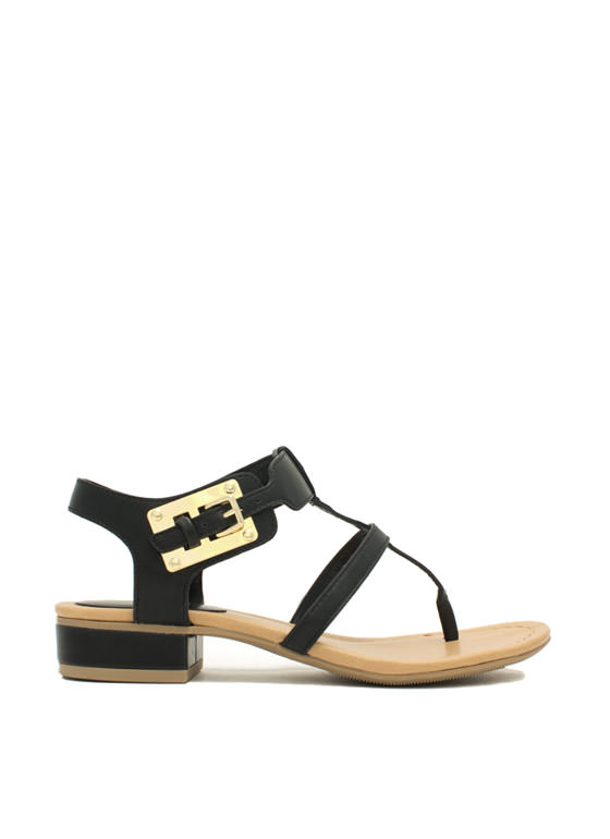 Slim Caged Plate Sandals BLACK
