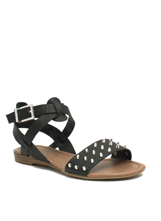 Hey Stud Strappy Textured Sandals BLACK