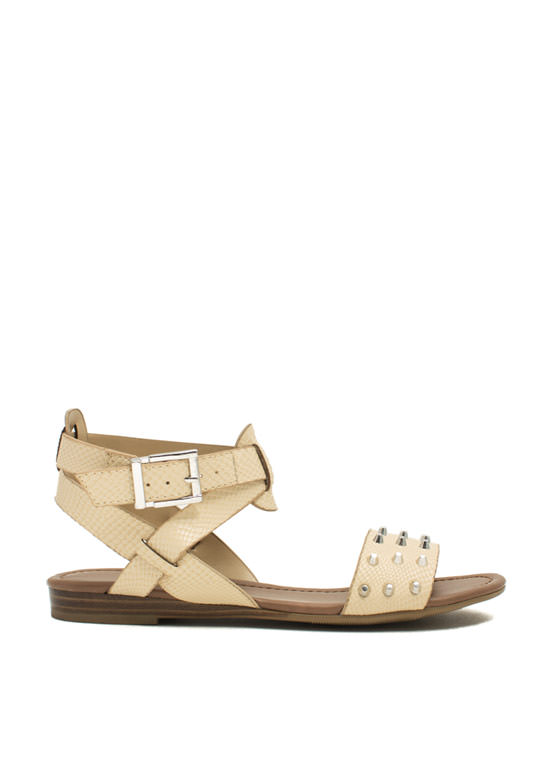 Hey Stud Strappy Textured Sandals NUDE (Final Sale)