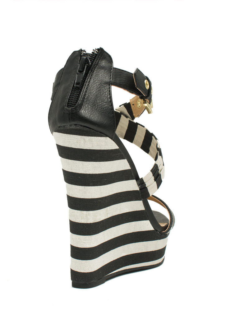 Stripe A Pose Mixed Media Wedges BLACK