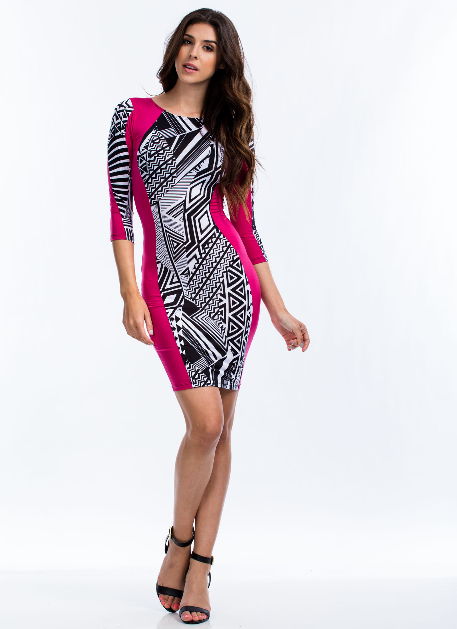 Hourglass Geo Print Bodycon Dress PINK