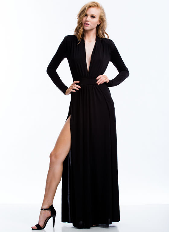 Ms. Draper Plunging Double Slit Maxi BLACK