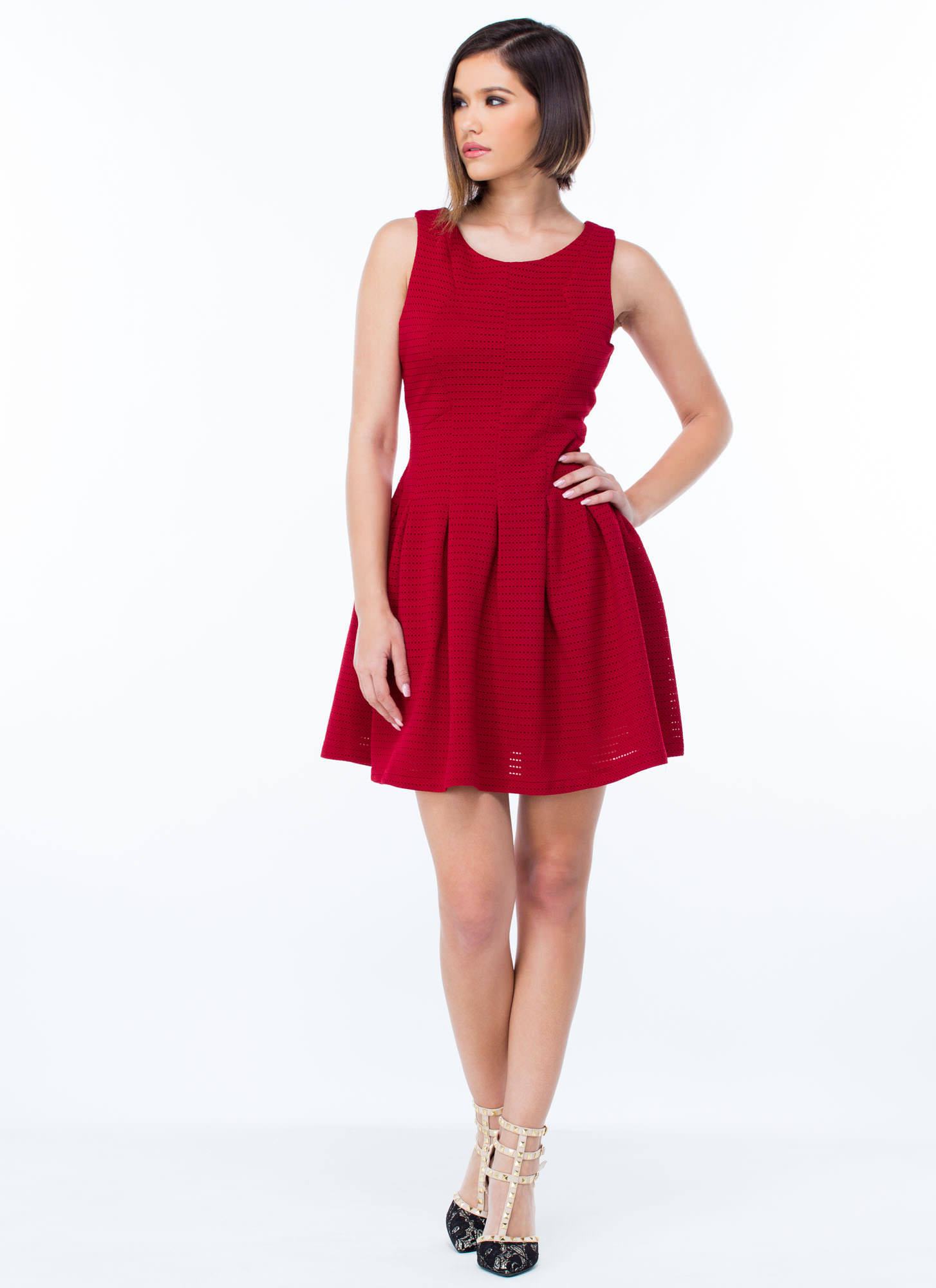 Textured N Paneled Skater Dress RED