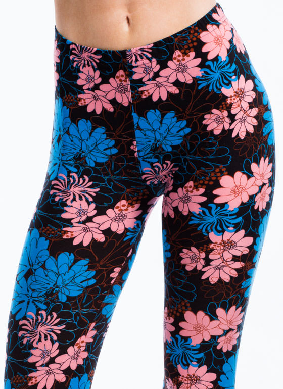 Layered Floral Print Leggings BLACK