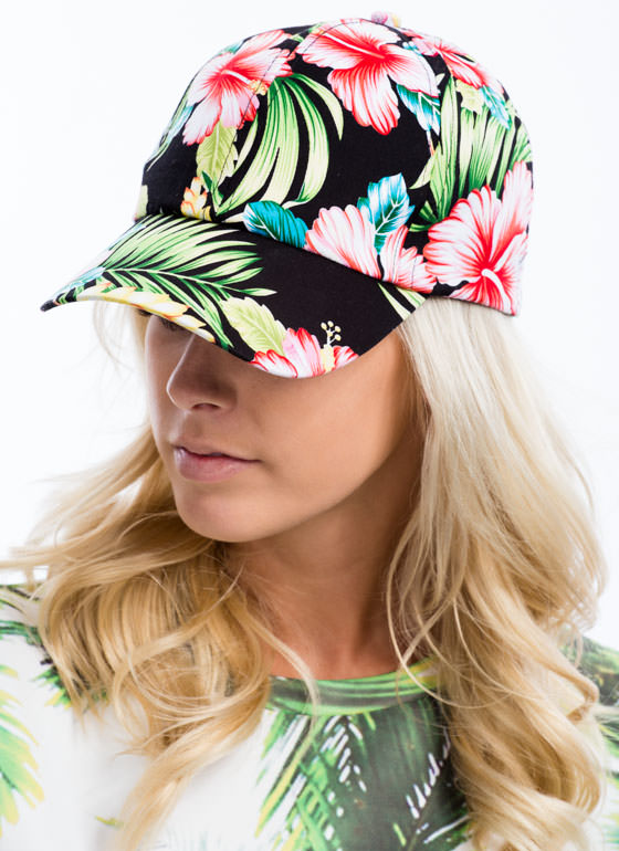 Tropical Flowers And Foliage Cap BLACKMULTI