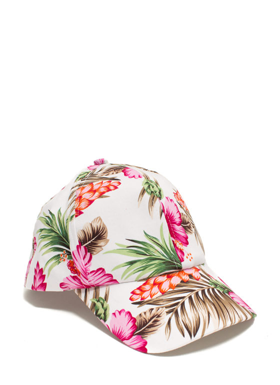 Tropical Flowers And Foliage Cap WHITEMULTI