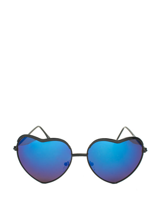 Heart-Shaped Wire Frame Sunglasses BLACKBLUE