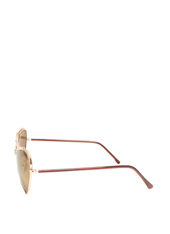 Heart-Shaped Wire Frame Sunglasses GOLDBROWN