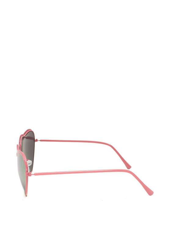 Heart-Shaped Wire Frame Sunglasses PINKCOPPER
