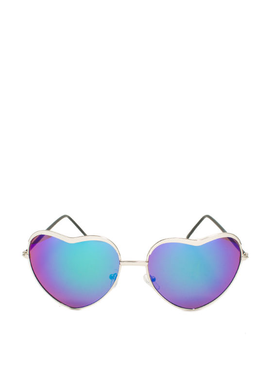 Heart-Shaped Wire Frame Sunglasses SILVERMULT