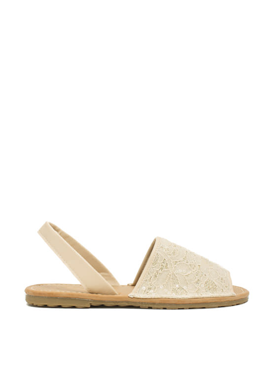 Faux Leather 'N Sparkle Slingback Sandals BEIGE