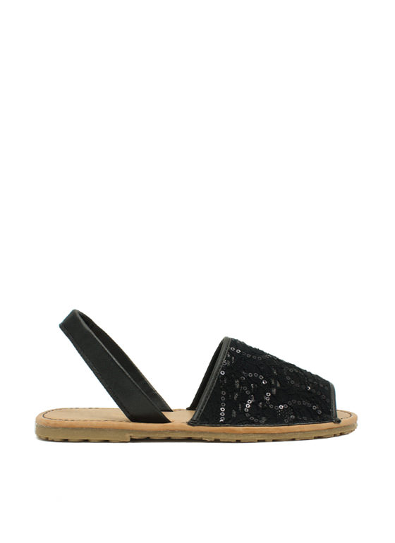 Faux Leather 'N Sparkle Slingback Sandals BLACK