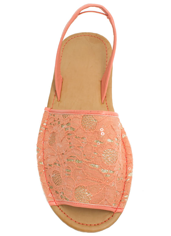 Faux Leather 'N Sparkle Slingback Sandals MELON
