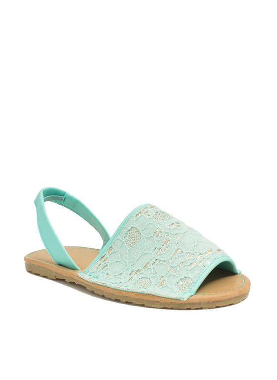 Faux Leather 'N Sparkle Slingback Sandals MINT