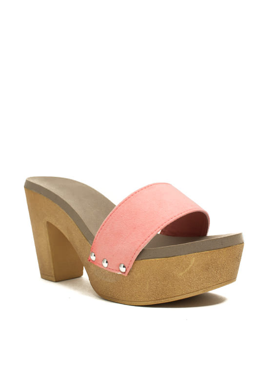 Wooden U Like 2 Know Slide Heels MELON