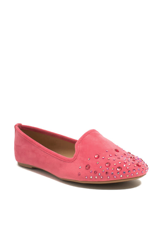 Glitzy Life Smoking Flats CORAL (Final Sale)