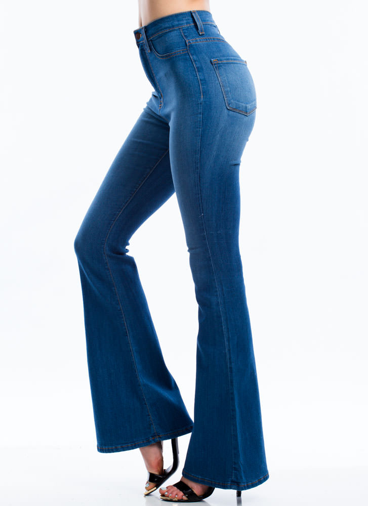 Classic High-Waisted Flared Jeans BLUE