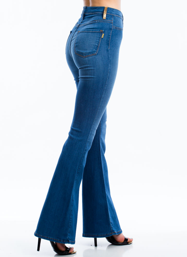 Classic High-Waisted Flared Jeans BLUE (Final Sale)