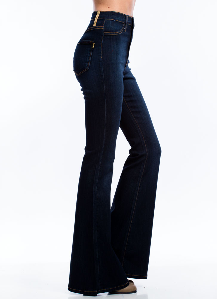 Classic High-Waisted Flared Jeans DKBLUE (Final Sale)