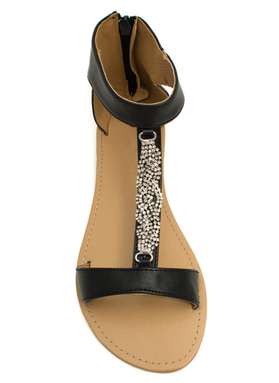 Braid Runner Jeweled Twist Sandals BLACK